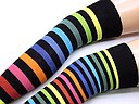 Over the knee socks with rainbow stripes
