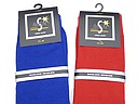 Plain cobalt blue and red socks for men