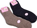 Soft ladies bed socks in light brown and black